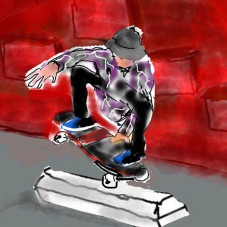 """Immortalized by the 1 and only Mark """"the Gonz"""" Gonzales. This was a @jgrantbrittain pic at LAX banks. It was a blktop bank w a double sided yellow curb on top-so damn fun! (Can someone pls replicate?!) Me n Mark went with Grant for a shred sesh and a few pics ended up in a mag. Transworld I believe. This is a lien to nosepick front grab out. Tech yo! Me n G go waaay back-a time before round wheels and wooden boards-they were carved from flint stone and bound with hair of wooly mammoth. Porcuupine quills for grip. OG G N G. Wordup. Thnx Mark!! #tgif"""