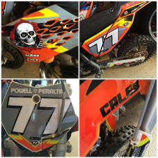 Caleb just got new MX graphics for his #ktmsx50 thanks to @throttlejockey - the came out sweet and with his racing number as well, radical ✊