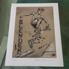 """""""Blender"""" 11 x 14 (limited Edition of 25 prints) - they are personally numbered and hand signed. $50 postage paid within the USA, all other countries pay $65 in US dollars. This print also comes with a signed CAB skate poster as well. Purchase through www.PayPal.com website, my Paypal account is: halfcab22@gmail.com - please include your shipping address and item description your purchasing with the Paypal invoice - thank you!"""