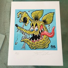 """""""Rat Fink"""" 11 x 14 (limited Edition of 25 prints) - they are personally numbered and hand signed. $50 postage paid within the USA, all other countries pay $65 in US dollars. This print also comes with a signed CAB skate poster as well. Purchase through www.PayPal.com website, my Paypal account is: halfcab22@gmail.com - please include your shipping address and item description your purchasing with the Paypal invoice - thank you!"""