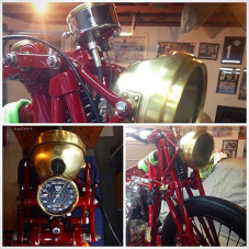 Chillen in Narita Airport for my Connection to LAX and just got these sweet photos from @thompsonscycles of my #bornfree8 #preunit #triumph #bobberbuild of my 1930's brass Miller headlight he just mounted on the @jakevintage made 30's replica girder forks... Looking good Bryan