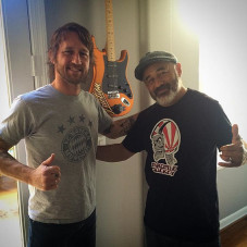 Got a visit today from @shifty71 Chris Shiflett (guitarist of the @foofighters) to record an In- depth interview about skateboarding, music, art and hot rods for his personal podcast station. Fun time catching up with him as I haven't seen him in a long time, in fact, it could have been when we toured the Vans Warped tour while he was in the band - No Use For A Name, prior to joining the #FooFighters.